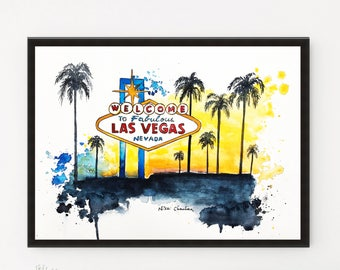 Las Vegas, City poster, City art, Printable art, Illustration, Watercolor art, Travel poster, Travel art, Modern art, Cityscape painting