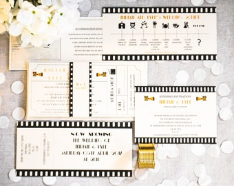 Vintage Hollywood, Ivory, Movie Cinema Ticket, Film Reel, Pearlescent, Art Deco, Wedding Invitation Suite, Tear away RSVP,  Printed SAMPLE