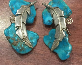 925 Sterling Silver and Turquoise Feather Earrings. Vintage c1980's.