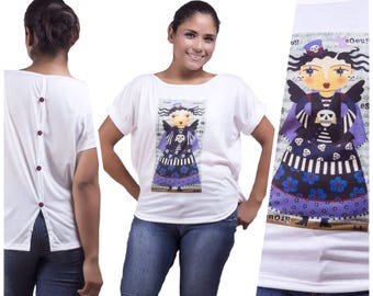 "T-shirt ""Angel Gothic steampunk with spiders""-Mexico"