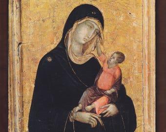 Stroganoff Madonna and Child, Duccio di Buoninsegna.FREE SHIPPING