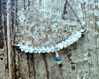 Silver Moonstone Bar necklace - Sterling Silver & Rainbow moonstone Necklace - Gift For Her