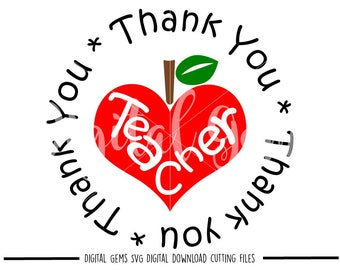 Thank you teacher svg / dxf / eps / png files. Digital download. Compatible with Cricut and Silhouette machines. Small commercial use ok.