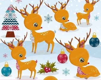 80% OFF SALE Christmas clipart, Rudolph clipart, Christmas deer, Christmas tree clipart, Christmas decorations, Commercial use - CA504