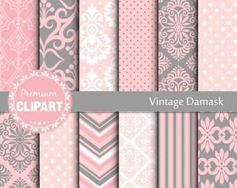 80% OFF SALE Pink and Grey digital damask, damask digital paper, digital damask, wedding digital paper, wedding pattern - SE137