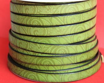 "MADE in EUROPE 24"" flat leather cord, embossed 10mm green leather cord, engraved leather cord (503/10/07)"