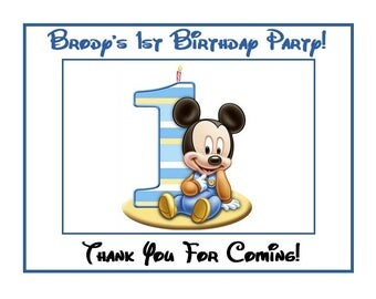18 Personalized baby MicKeY mouse inspired party stickers,birthday,favors,supplies,bag box labels,first birthday,1st,thank you, custom made