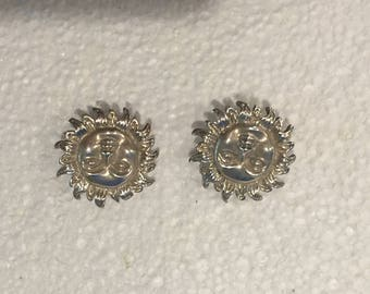 Vintage Mexican Sterling Silver Sun Face Clip-on Earrings