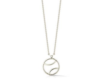 "AF Jewelers ""Tennis Anyone?"" Tennis Ball Pendant Necklace with 1 Diamond, 925 Sterling Silver."