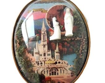 """french vintage glass frame """"Centenaire de Lourdes"""", Lourdes centenary, french souvenir"""