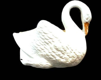 vintage french small porcelain bisque swan, porcelain figurine