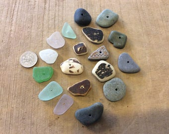 Center drilled sea glass, pottery and beach stones