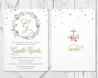 Gold Floral Christening or Baptism Invitation, Flower Wreath, Monogram, Professionally Printed, Peach Perfect Australia
