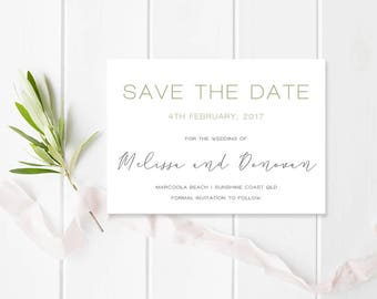 Leaf Wedding Save the Date, Professionally Printed or Digital Printable File DIY, Leafy Love, Foliage, Peach Perfect