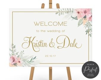Wedding Welcome Sign, Gold and Pink Flowers, Floral Wedding Poster, Free Colour Changes, DIY Printable Digital File, Kristin Suite