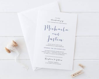 Modern Printable Wedding Invitations, Digital Print Your Own or Professionally Printed, Blue Wedding Invites, Michaela Suite