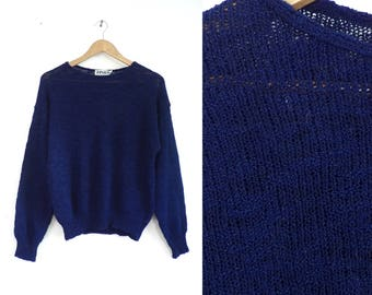 70s lightweight sweater navy blue sweater minimalist acrylic sweater wide boat neck sweater light knit sweater womens jumper medium/large