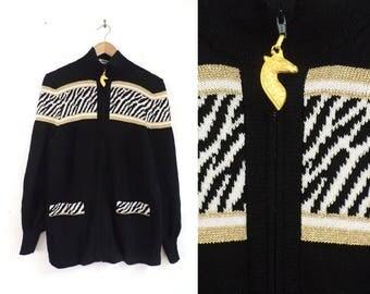 80s zebra cardigan sweater animal print striped sweater knit acrylic zip up jungle sweater metallic gold safari sweater womens jumper small