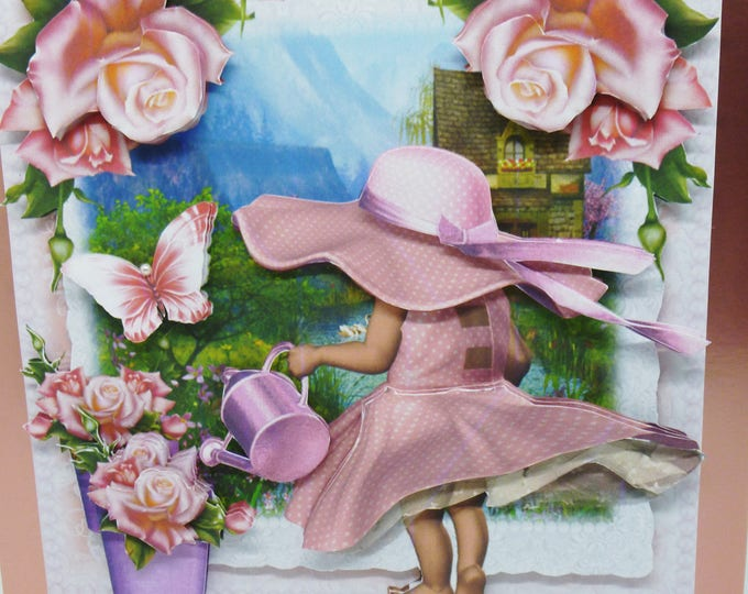 Little Girl In Pink, 3 D Decoupage Card, Greeting Card, Birthday Card, Pink Roses, Butterflies, How Does Your Garden Grow.