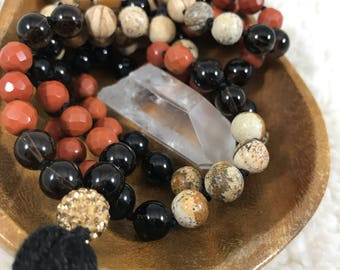 Smoky Quartz Mala - 108 Beaded Gemstone Mala with Tassel -Featuring Smoky Quartz, Red Jasper, Picture Jasped