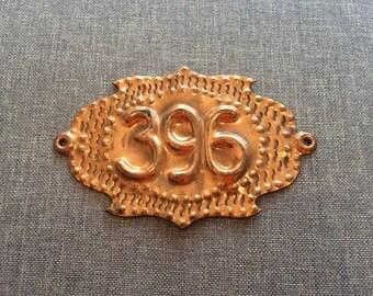 Brass door room number sign 396, Soviet vintage apartment number plaque