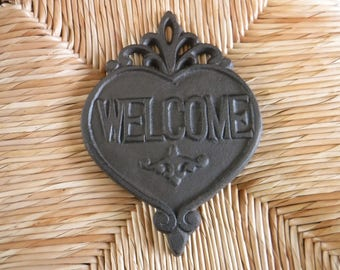 Cast Iron Welcome Sign, Heart Welcome Sign Plaque Cast Iron, Front Door Sign, Welcome Sign, Farmhouse Welcome Sign, Cast Iron Heart,Welcome