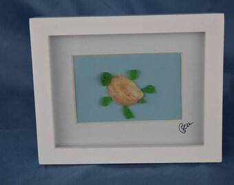 Seaglass turtle scene, seaglass art, 4in x 5in framed color seaglass, coastal decor, baby sea turtle