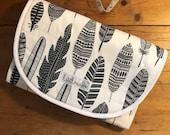 Universal Pram Liner, Stroller Liner, Buggy Liner - 100% Cotton - Grey Feathers