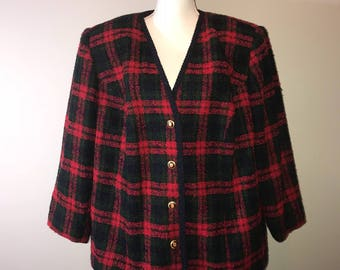 Vintage 80's Plus Size Plaid Blazer / size 22w / by Amanda Smith