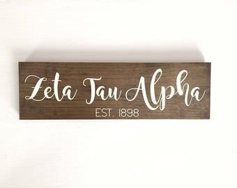 Zeta Sign // Zeta Tau Alpha Sign // Zeta Gift // Big Little Gift // Sorority Sign // Sorority Gift // Rustic Sorority Sign // ZTA Gift