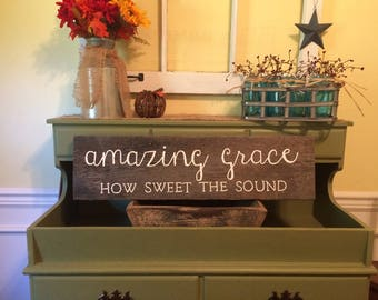 Distressed Amazing Grace How sweet the sound sign