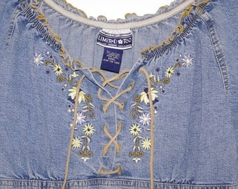 On Sale Vintage Denim Peasant Shirt By Limited Too Floral Embroidery Laces at Neckline Girl's XXXL Made in Hong Kong Free US Shipping
