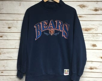 Vintage 90's Chicago Bears football crewneck sweatshirt Nutmeg Mills mock neck sweatshirt navy blue Chicago sweatshirt - Large/Medium