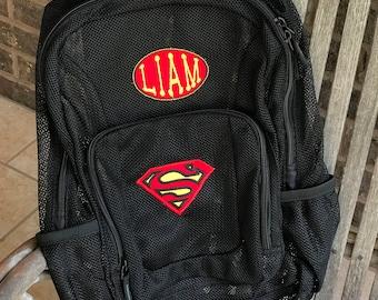 Monogrammed Backpack | Mesh Backpack | Back to School | Superman  Backpack | Boys Backpack | Mesh Backpack | Embroidered Mesh Backpack