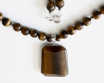 Tiger's eye and sterling silver necklace