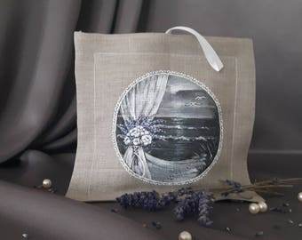 Linen hand painted wedding gift, linen sachet (organic dried lavender inside)