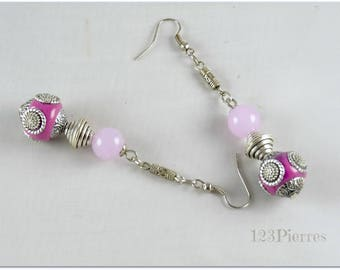 Long earrings ethnic earrings Pearl Indonesian and purple jade - 123 jewelry stones By MP Bertrand