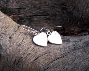 Heart Earrings - Silver Earrings - Light weight Earrings - Handmade earrings -  Sterling Silver Earrings