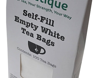 spice.boutique - 100 Self Fill Empty Teabags, Drawstring, Disposable, For all Loose Leaf, Fruit, Herbal, Green Teas, FREE Post UK and Europe
