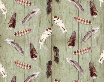 Feathers, Feather Fabric, Bird Feathers on Green Wood Background, by Henry Glass, 6621-66