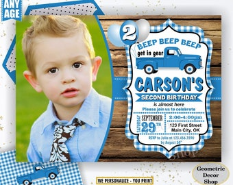 Blue Truck / birthday invitation / woodland / farm / birthday invite / car / 1st first / rustic / boy / invites / Photo / Photograph DTruck4