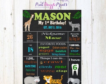 Printable Safari/ Jungle Chalkboard Stats Sign- Digital File- Birthday Sign- Any Age