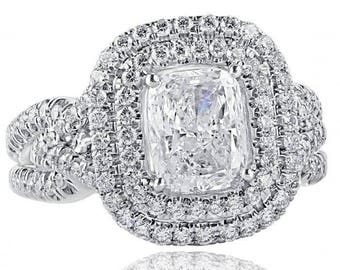 2.29 Ct Cushion Cut Diamond Engagement Ring, Cushion Diamond Ring, Split Shank, Double Halo Engagement Ring, Infinity Ring,  18k White Gold