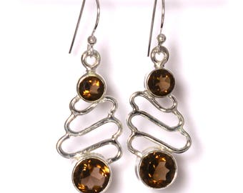 Smoky Quartz Earrings, 925 Sterling Silver, Unique only 1 piece available! color brown, weight 3.9g, #41429