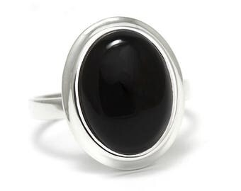 Black Onyx Ring, 925 Sterling Silver, Unique only 1 piece available! SIZE 10 (inner diameter 19.67mm), color black, weight 7.1g, #45928