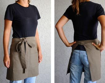 Clothing Gift Womens Gift Ideas Cooking gifts for cooks Cafe apron Natural Cotton Apron Half apron gift Chef apron Baking Apron With Pockets