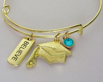 GOLD Believe  Graduation Charm W/ BIRTHSTONE Bangle - Birthday Gift Graduation Day Personalize  High School College Gift For Her Usa G1