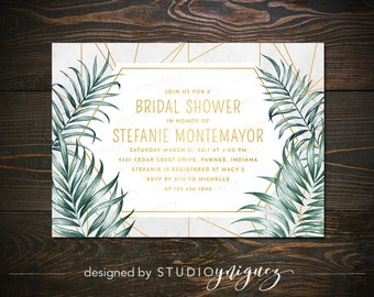 "Geometric Gold Palm Leaves Bridal Shower Printable 7"" x 5"" Invitation, Modern Bridal Shower Invitation, Tropical Bridal Shower Invitation"