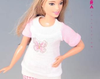 Barbie clothes for curvy doll, 2piece pajama