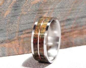 Titanium band with dyed Maple and copper inlay ring, Double dyed Maple and Copper inlay ring, metal and wood inlay ring, Copper inlay ring